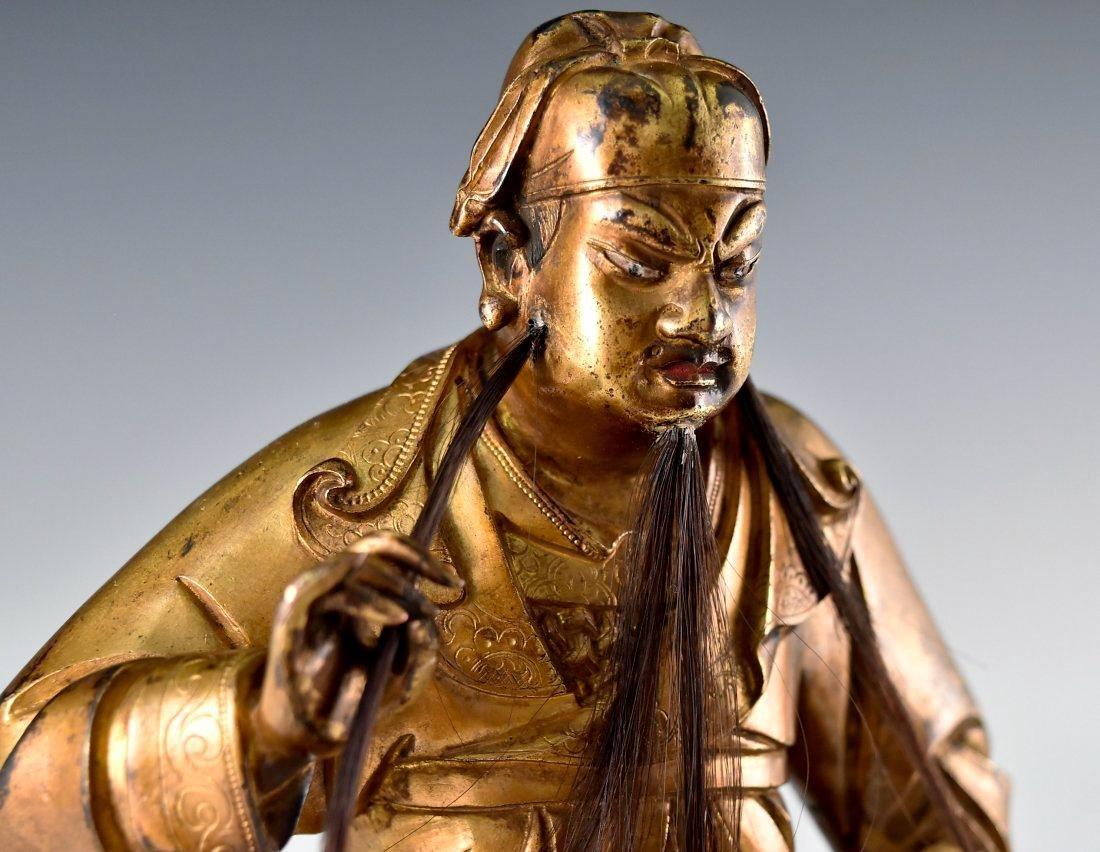 QING GILT BRONZE BUDDHA FIGURE OF GUANDI - 9