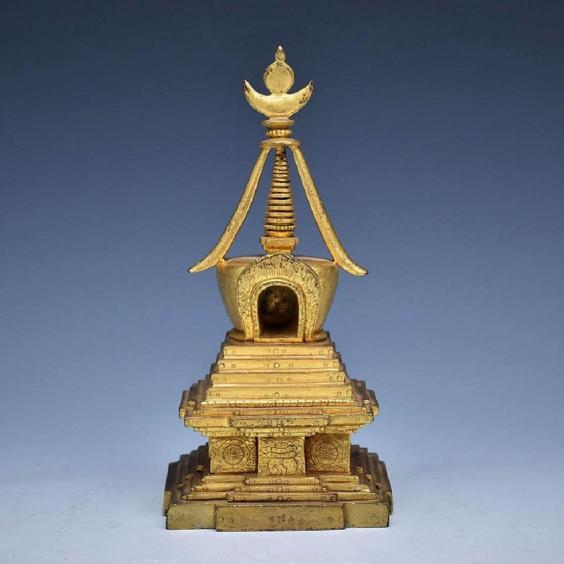 ANTIQUE GILT BRONZE STUPA