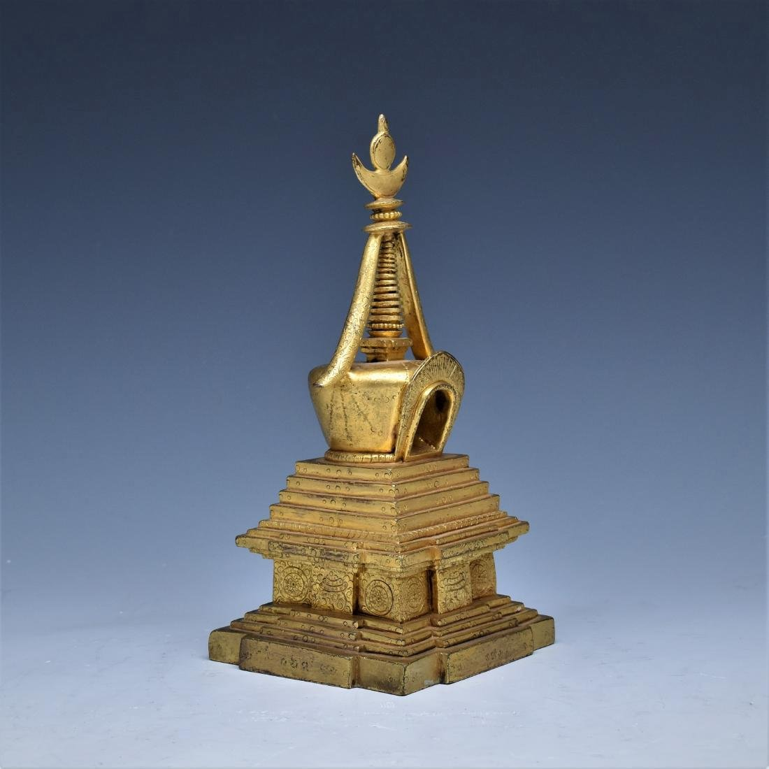 ANTIQUE GILT BRONZE STUPA - 2