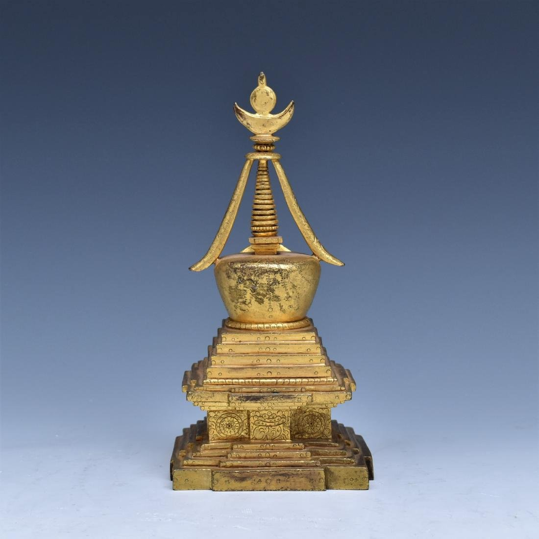 ANTIQUE GILT BRONZE STUPA - 3