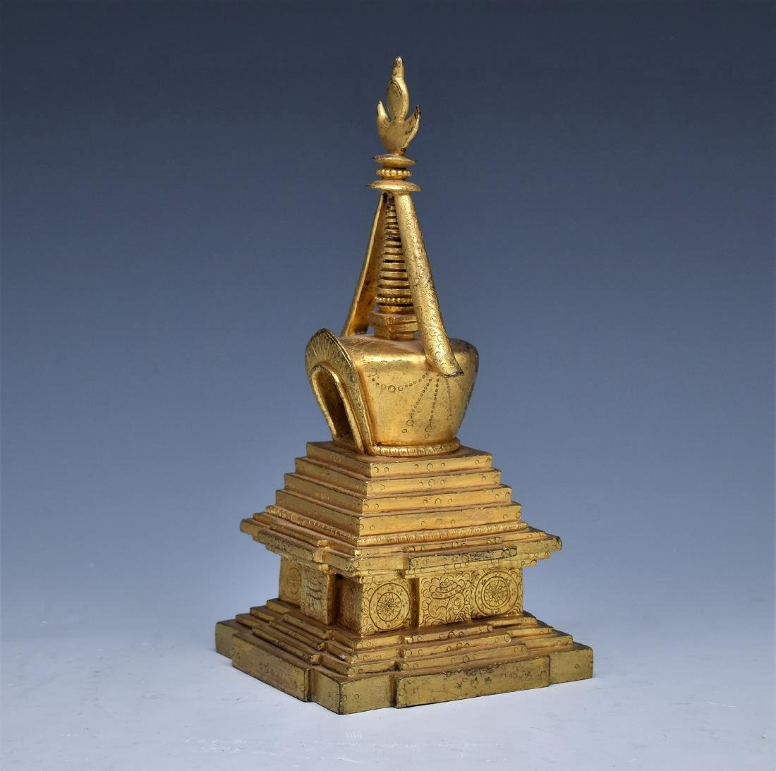 ANTIQUE GILT BRONZE STUPA - 4
