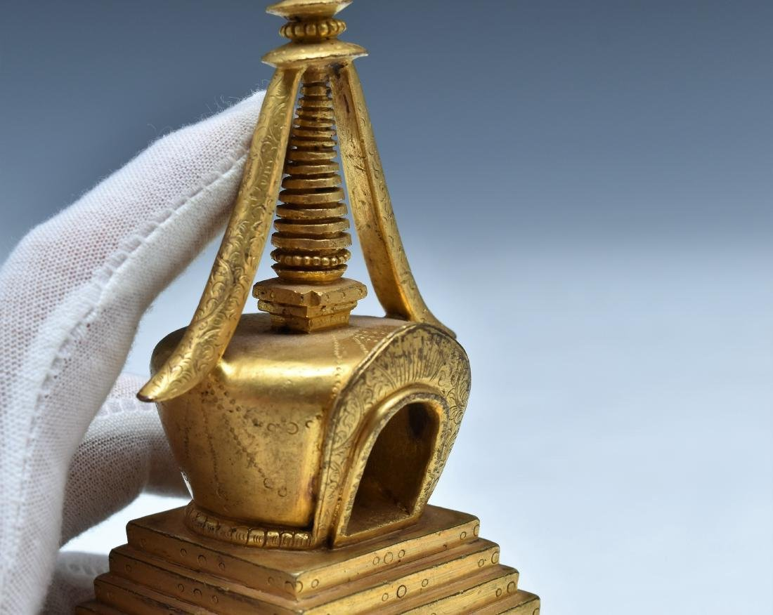 ANTIQUE GILT BRONZE STUPA - 6