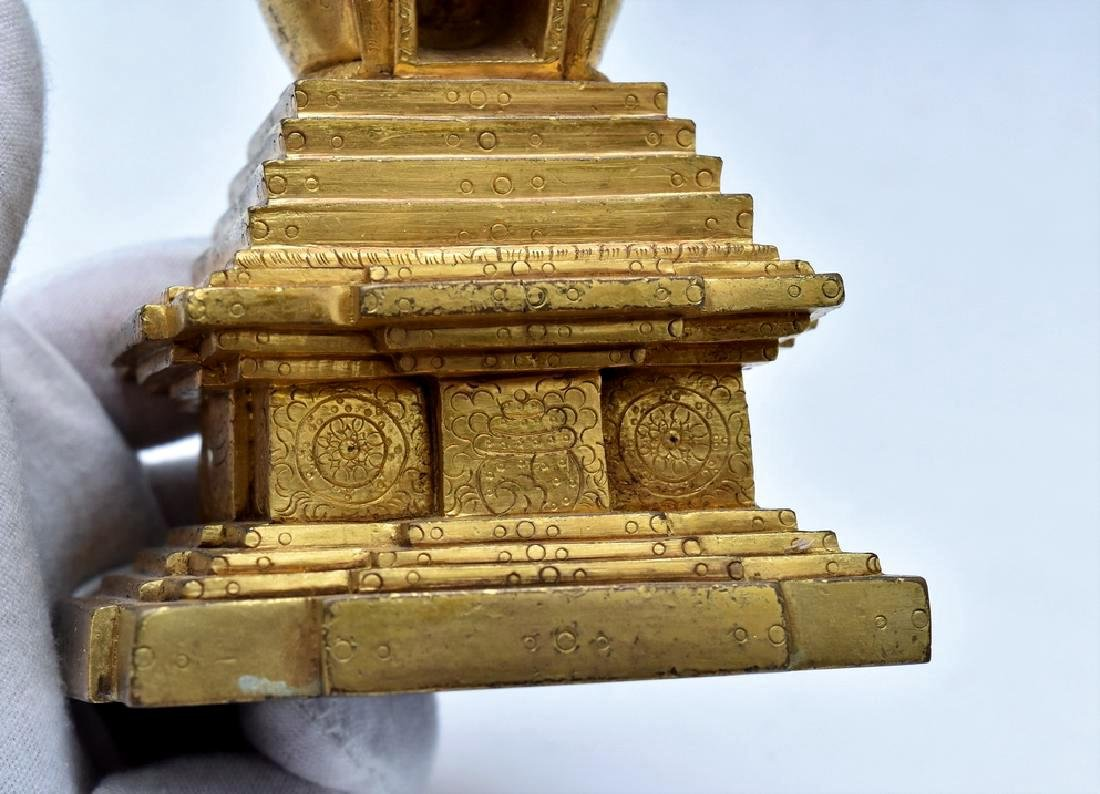 ANTIQUE GILT BRONZE STUPA - 8