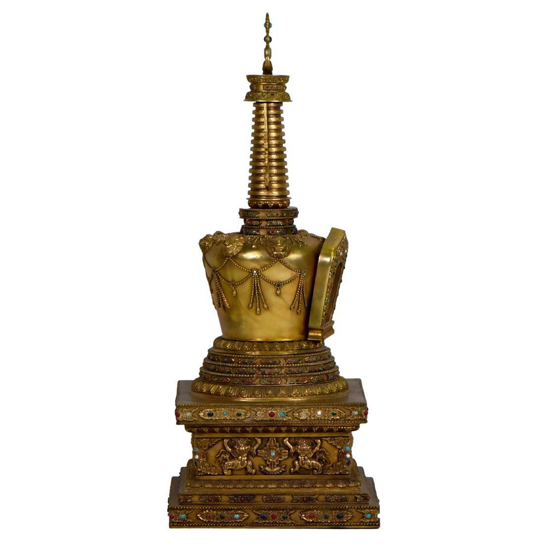 MASSIVE QING GILT BRONZE & STONES INLAID BUDDHA STUPA - 3