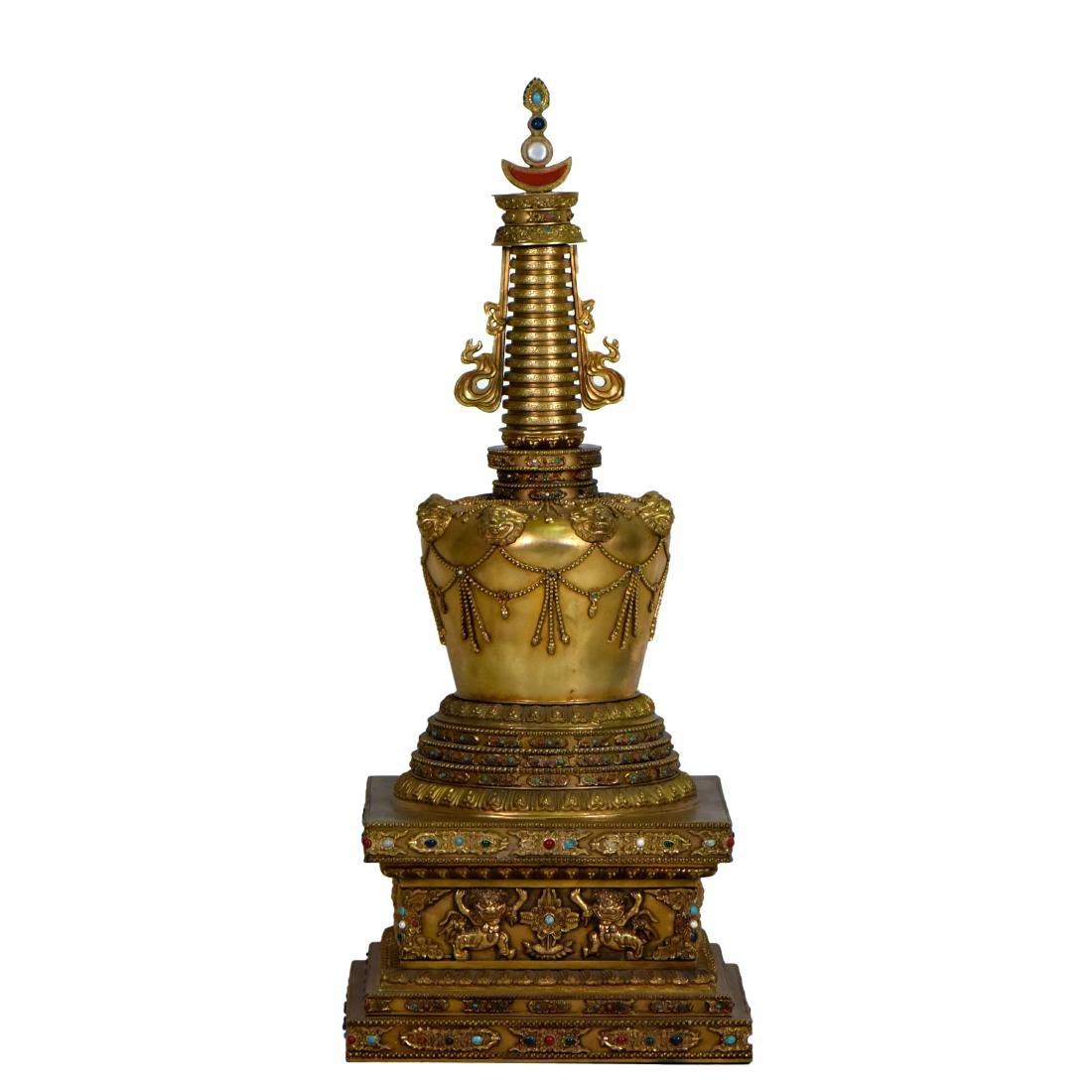 MASSIVE QING GILT BRONZE & STONES INLAID BUDDHA STUPA - 4