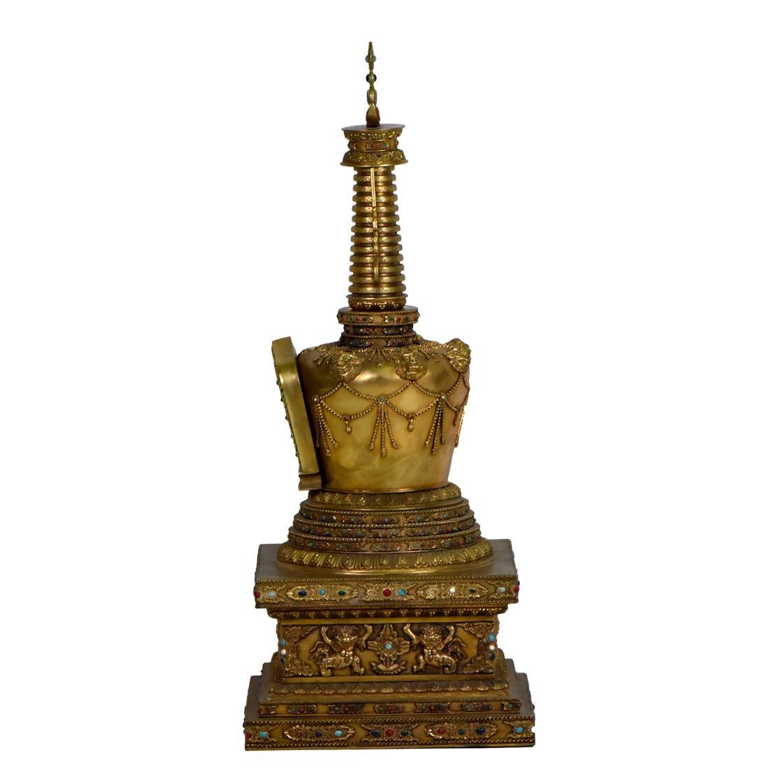 MASSIVE QING GILT BRONZE & STONES INLAID BUDDHA STUPA - 5