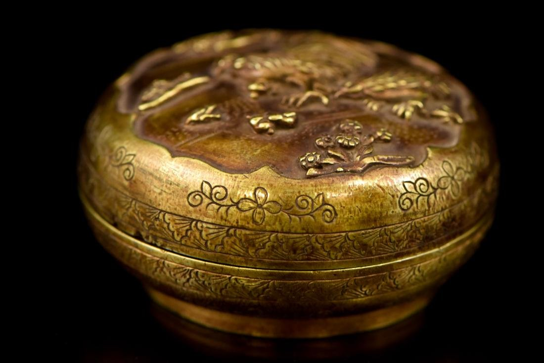 CHINESE JIAQING GILT SILVER ROOSTER TRINKET BOX - 3
