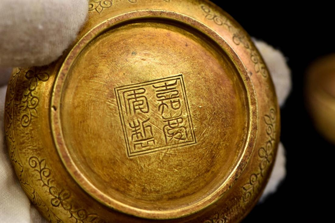 CHINESE JIAQING GILT SILVER ROOSTER TRINKET BOX - 6