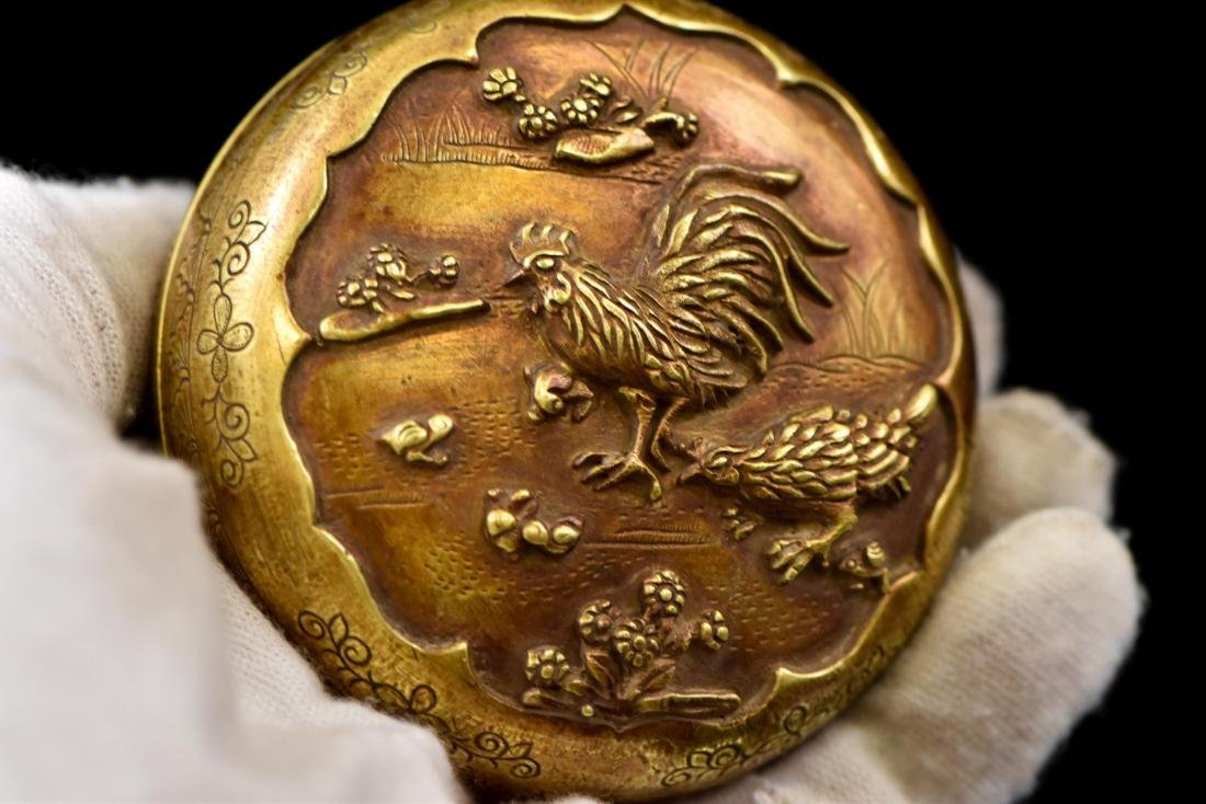 CHINESE JIAQING GILT SILVER ROOSTER TRINKET BOX - 7