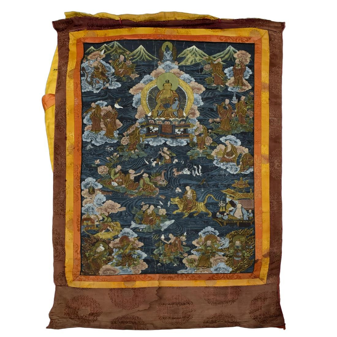 19TH C THANGKA OF SHAKYAMUNI BUDDHA & 16 ARHATS