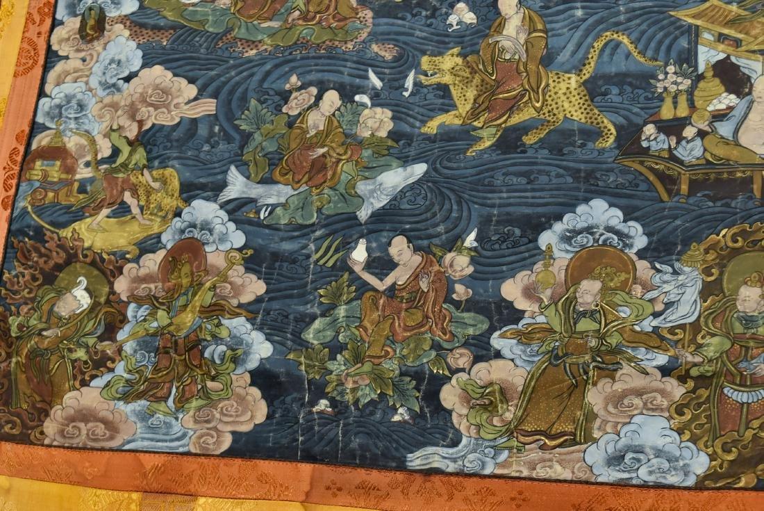 19TH C THANGKA OF SHAKYAMUNI BUDDHA & 16 ARHATS - 2