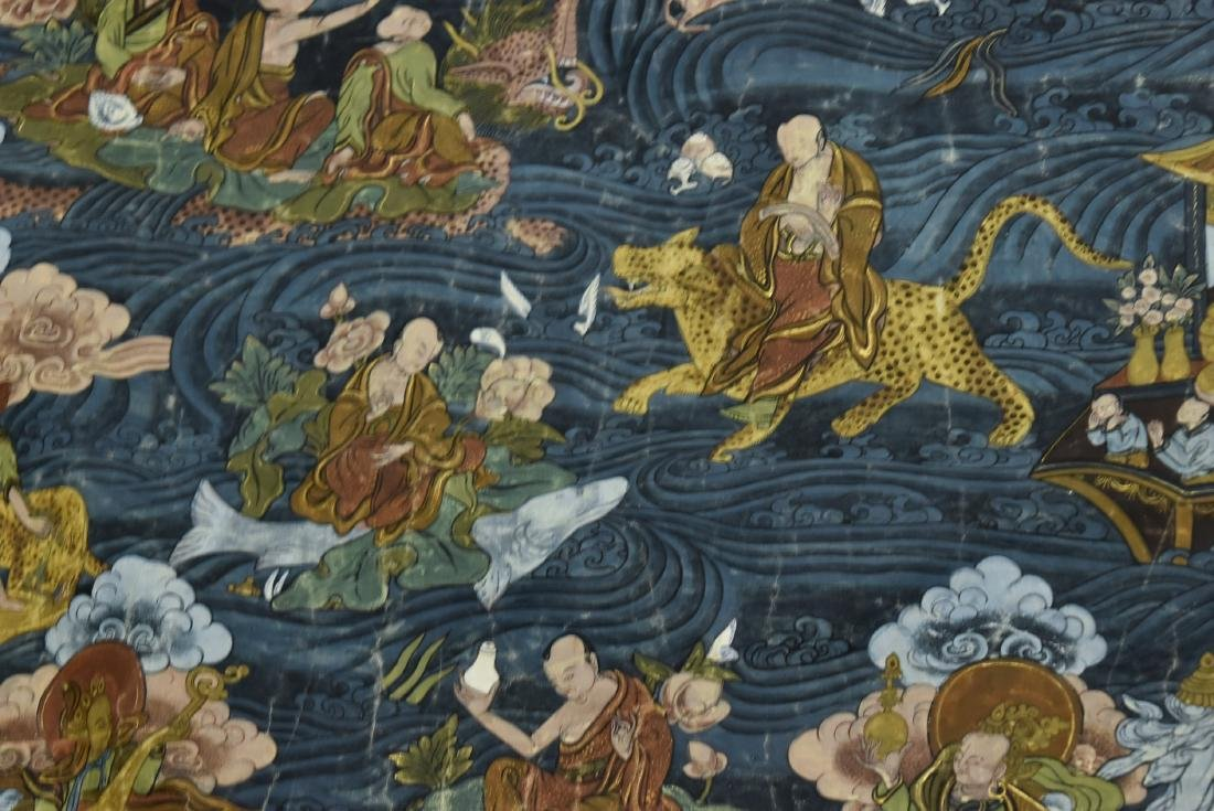 19TH C THANGKA OF SHAKYAMUNI BUDDHA & 16 ARHATS - 3