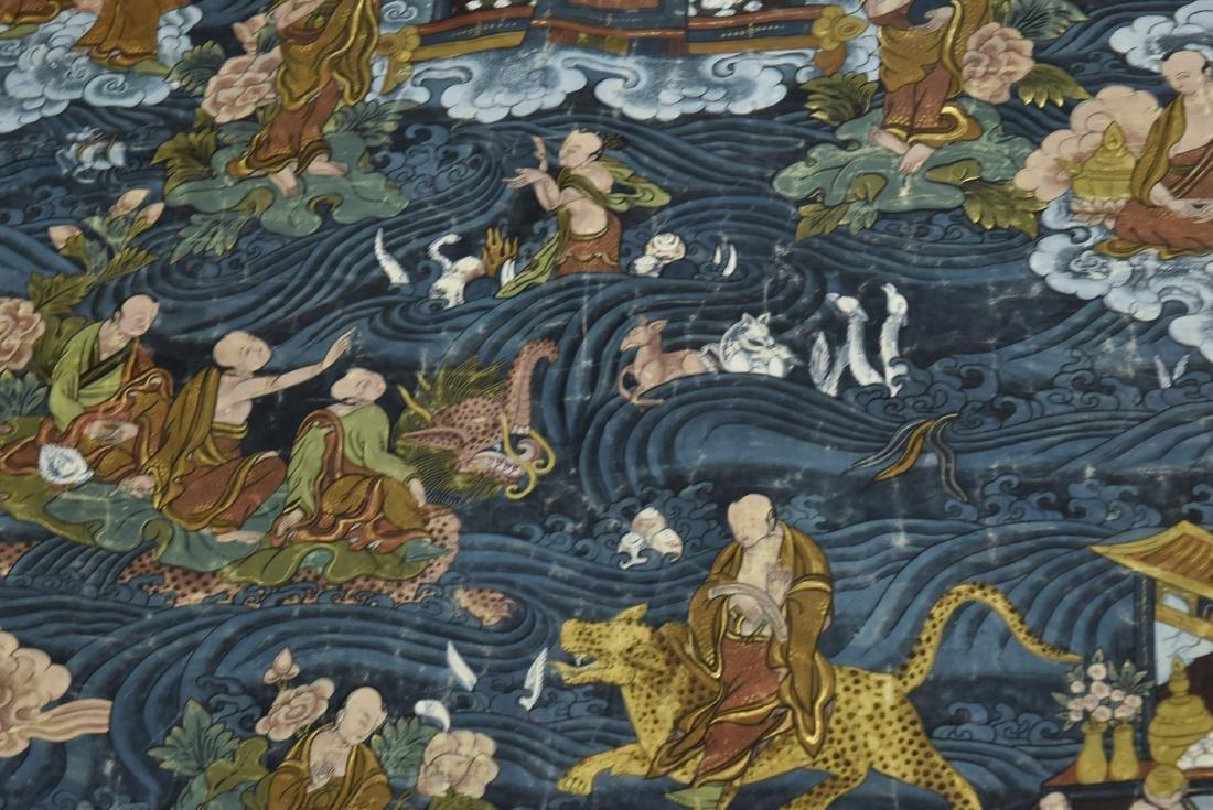 19TH C THANGKA OF SHAKYAMUNI BUDDHA & 16 ARHATS - 4