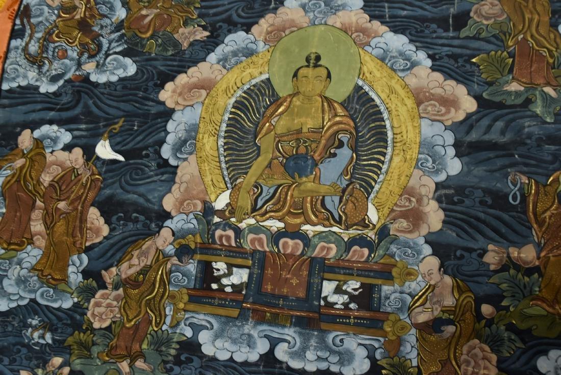 19TH C THANGKA OF SHAKYAMUNI BUDDHA & 16 ARHATS - 5