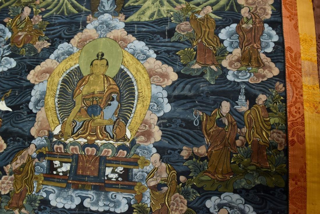 19TH C THANGKA OF SHAKYAMUNI BUDDHA & 16 ARHATS - 6