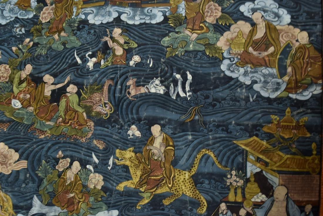 19TH C THANGKA OF SHAKYAMUNI BUDDHA & 16 ARHATS - 7