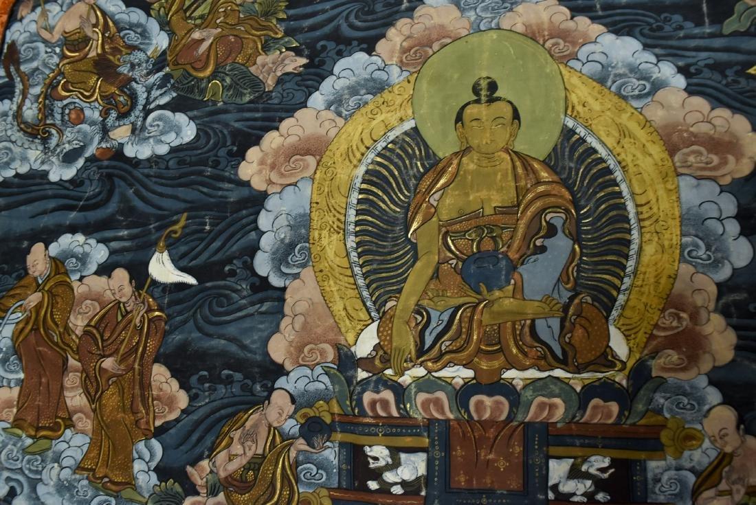 19TH C THANGKA OF SHAKYAMUNI BUDDHA & 16 ARHATS - 8