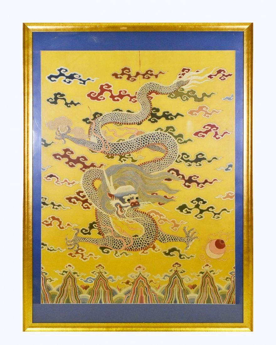 18TH/19TH C FRAMED CHINESE EMBROIDERY DRAGON SILK PANEL - 2
