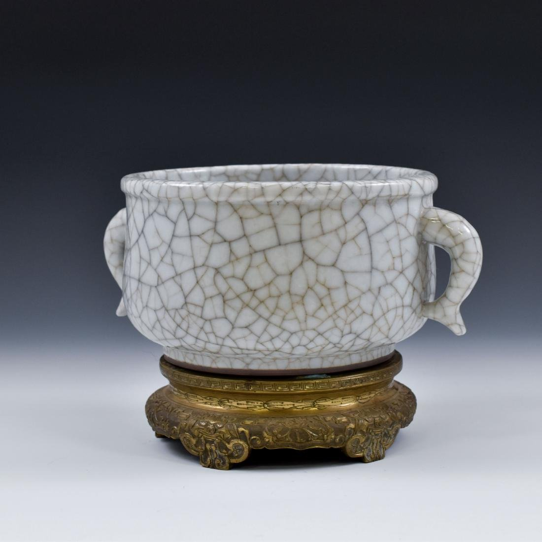 18TH C GE TYPE CENSER WITH FISH TAIL HANDLES ON STAND - 4