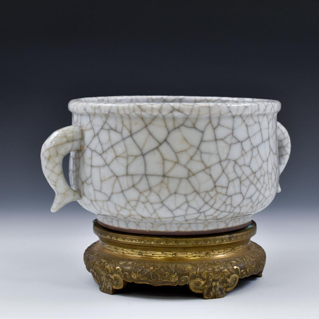 18TH C GE TYPE CENSER WITH FISH TAIL HANDLES ON STAND - 5