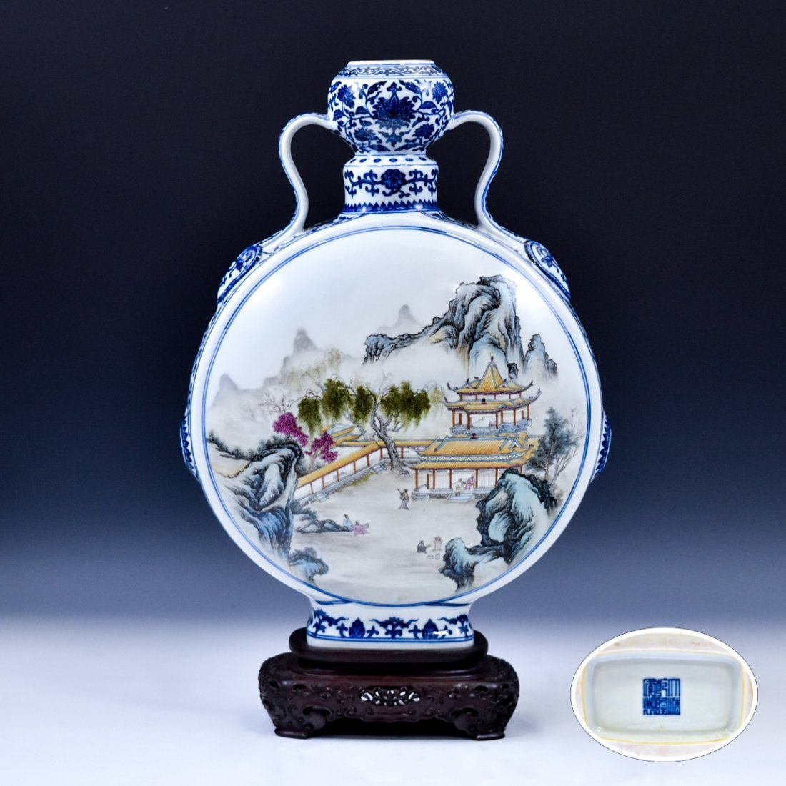 QING FAMILLE ROSE LANDSCAPE MOON FLASK ON STAND