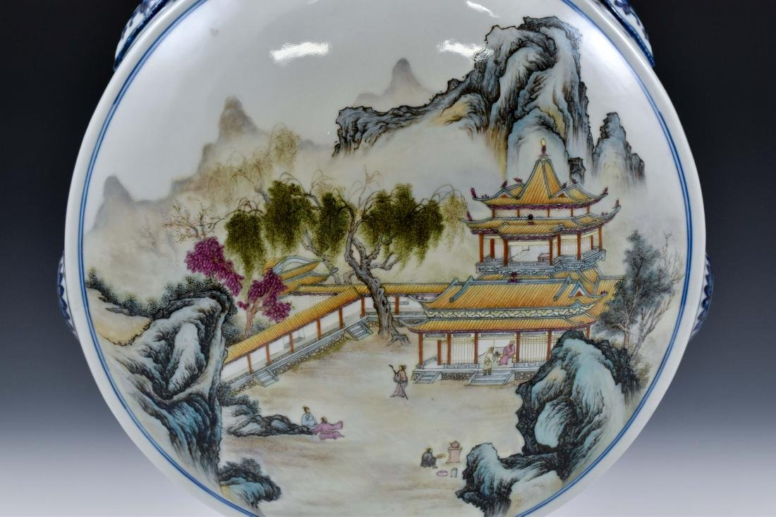 QING FAMILLE ROSE LANDSCAPE MOON FLASK ON STAND - 7