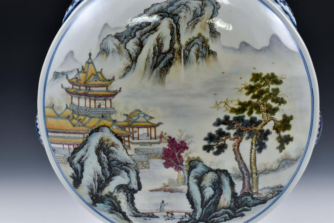 QING FAMILLE ROSE LANDSCAPE MOON FLASK ON STAND - 8