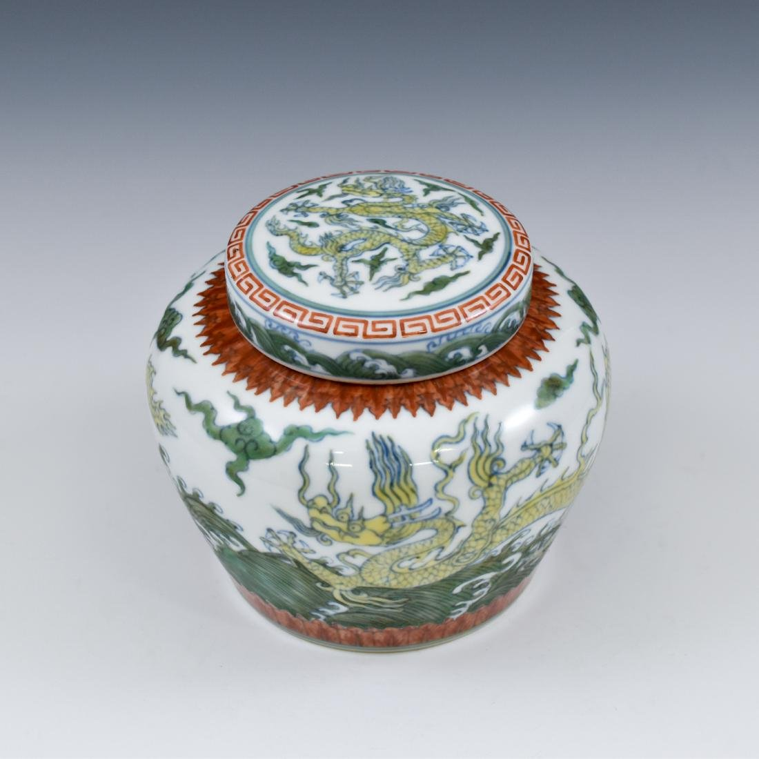 MING CHENGHUA DOUCAI DRAGON LIDDED JAR - 2