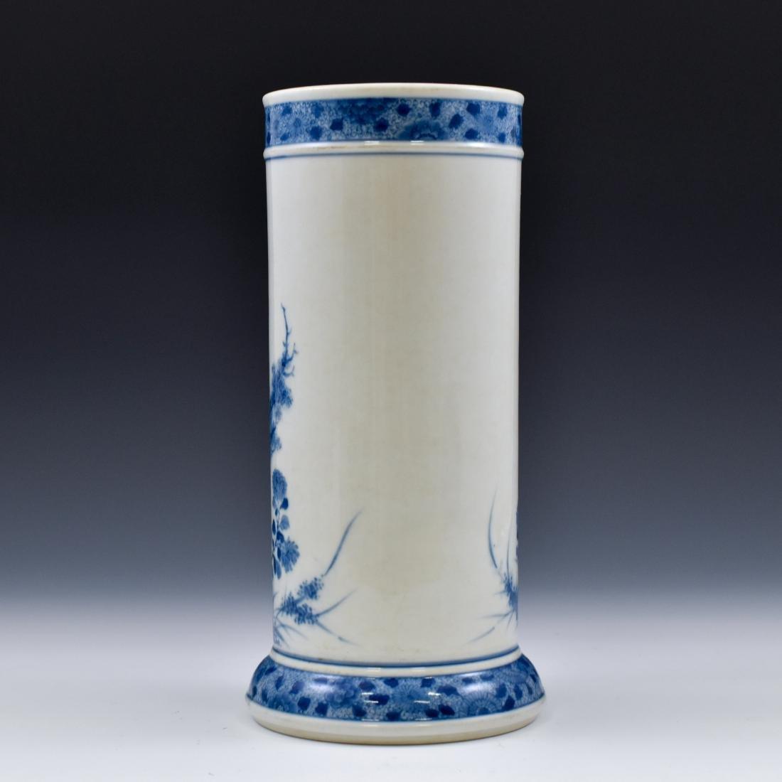 20TH C BLUE & WHITE UMBRELLA VASE - 3
