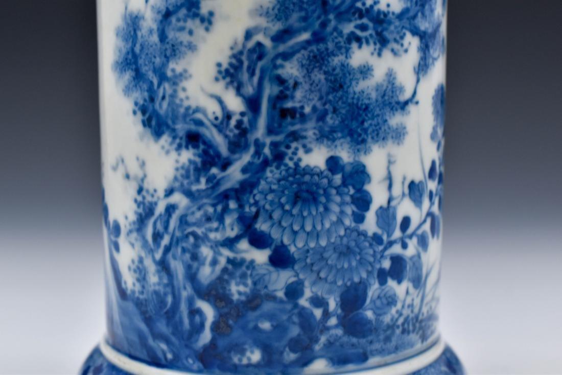 20TH C BLUE & WHITE UMBRELLA VASE - 7