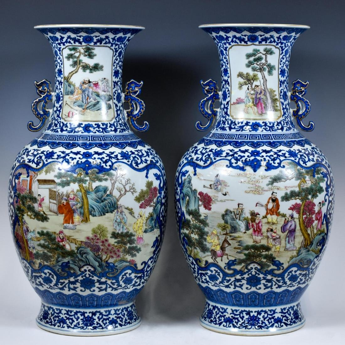 PAIR OF FAMILLE ROSE OPEN FACE VASES