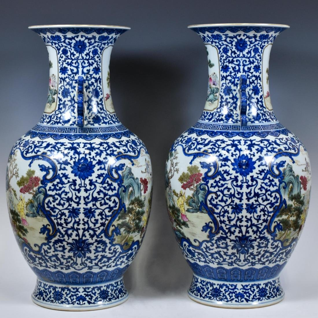 PAIR OF FAMILLE ROSE OPEN FACE VASES - 2