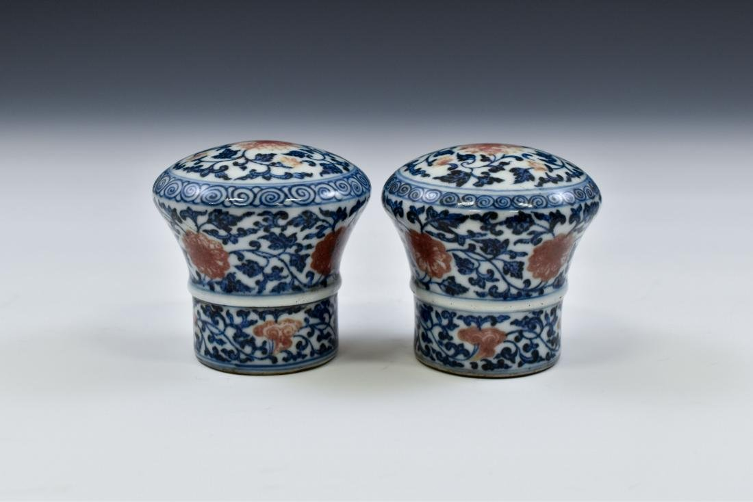 17TH C PAIR OF PORCELAIN SCROLL KNOBS IN FLORAL MOTIF - 3