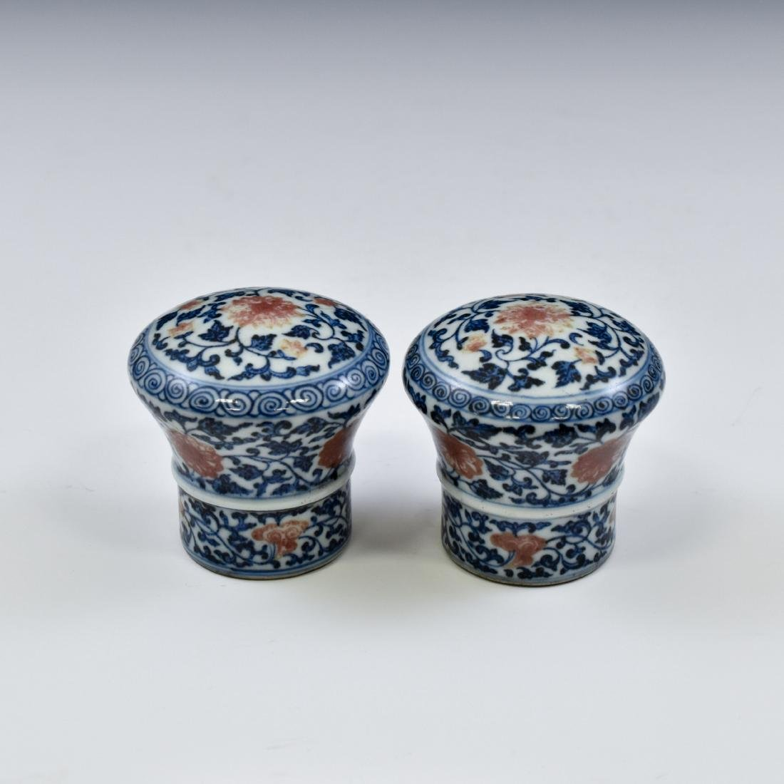 17TH C PAIR OF PORCELAIN SCROLL KNOBS IN FLORAL MOTIF - 5