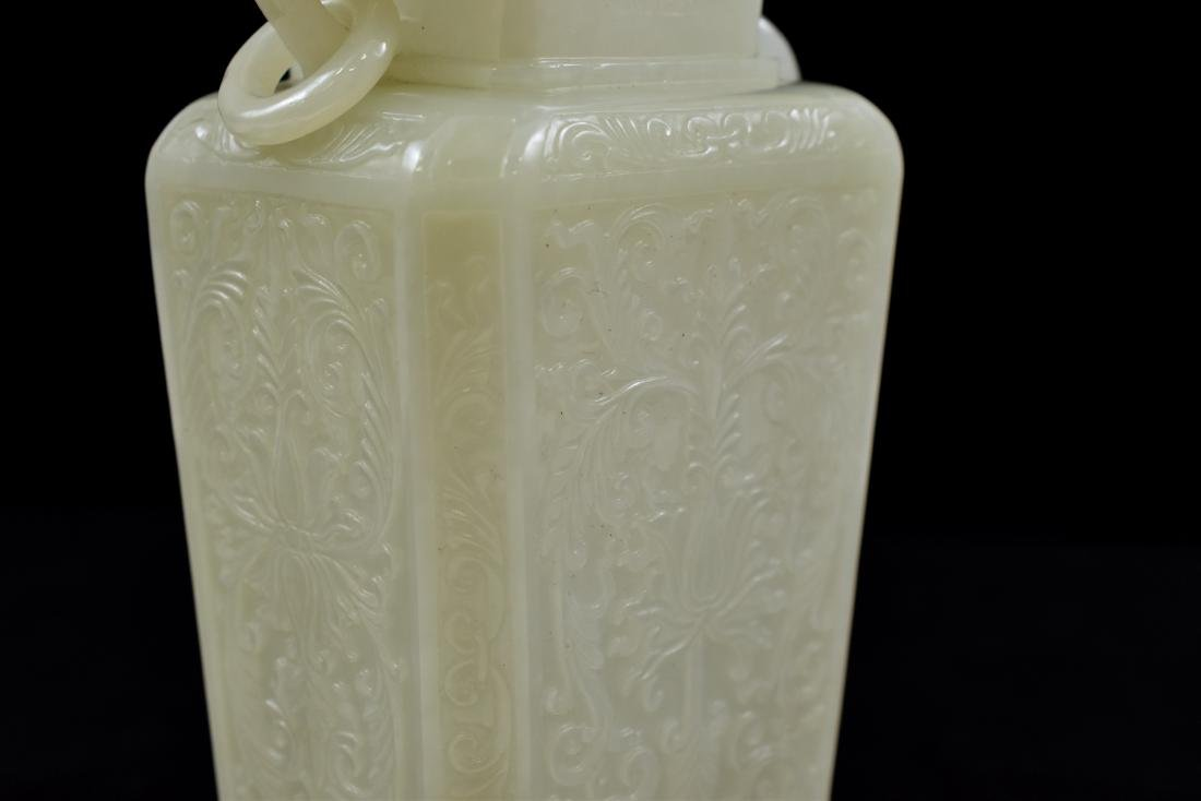 VERY FINE QING WHITE JADE COVERED URN - 7