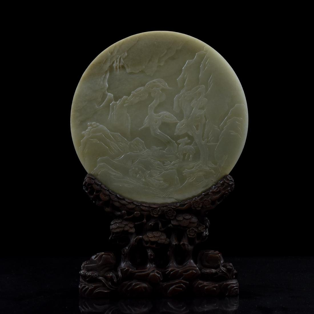 TWO SIDES PANORAMIC CIRCULAR JADE TABLE SCREEN - 5