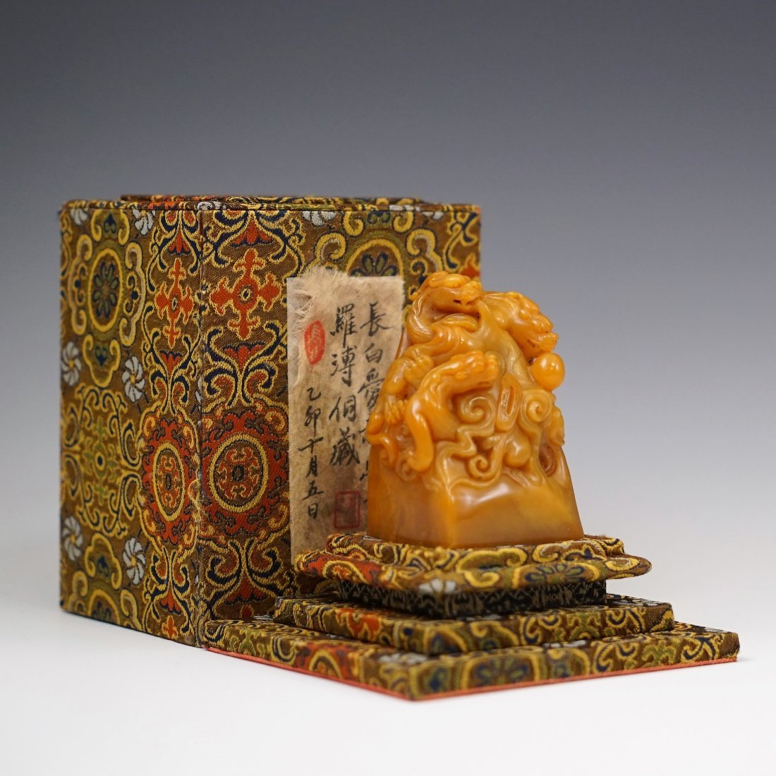 19TH C VERY FINE PIXUE CARVED TIANHUANG SEAL IN BOX