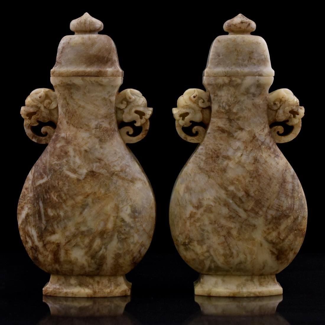 18TH/19TH C PAIR OF CHINESE JADE URNS - 2