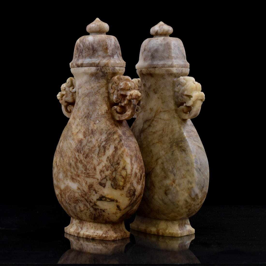 18TH/19TH C PAIR OF CHINESE JADE URNS - 4