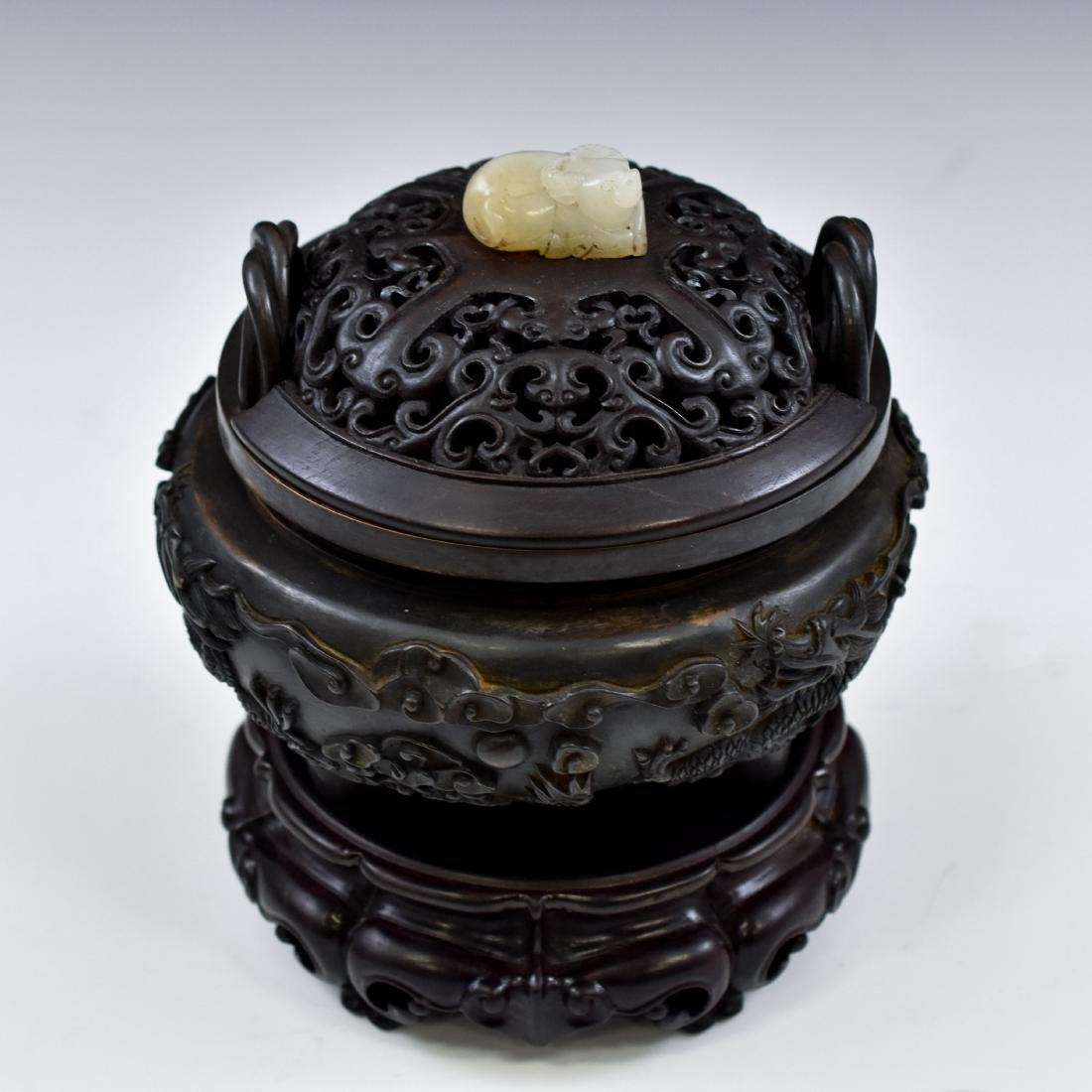 MING BRONZE DRAGON TRIPOD CENSER WITH JADE FINIAL - 2