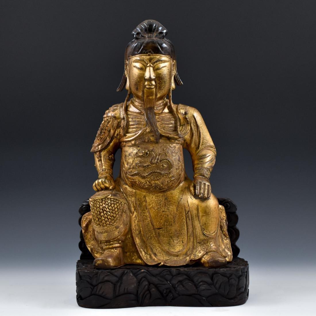 17TH C MASSIVE MING GILT BRONZE BUDDHA OF GUANGONG