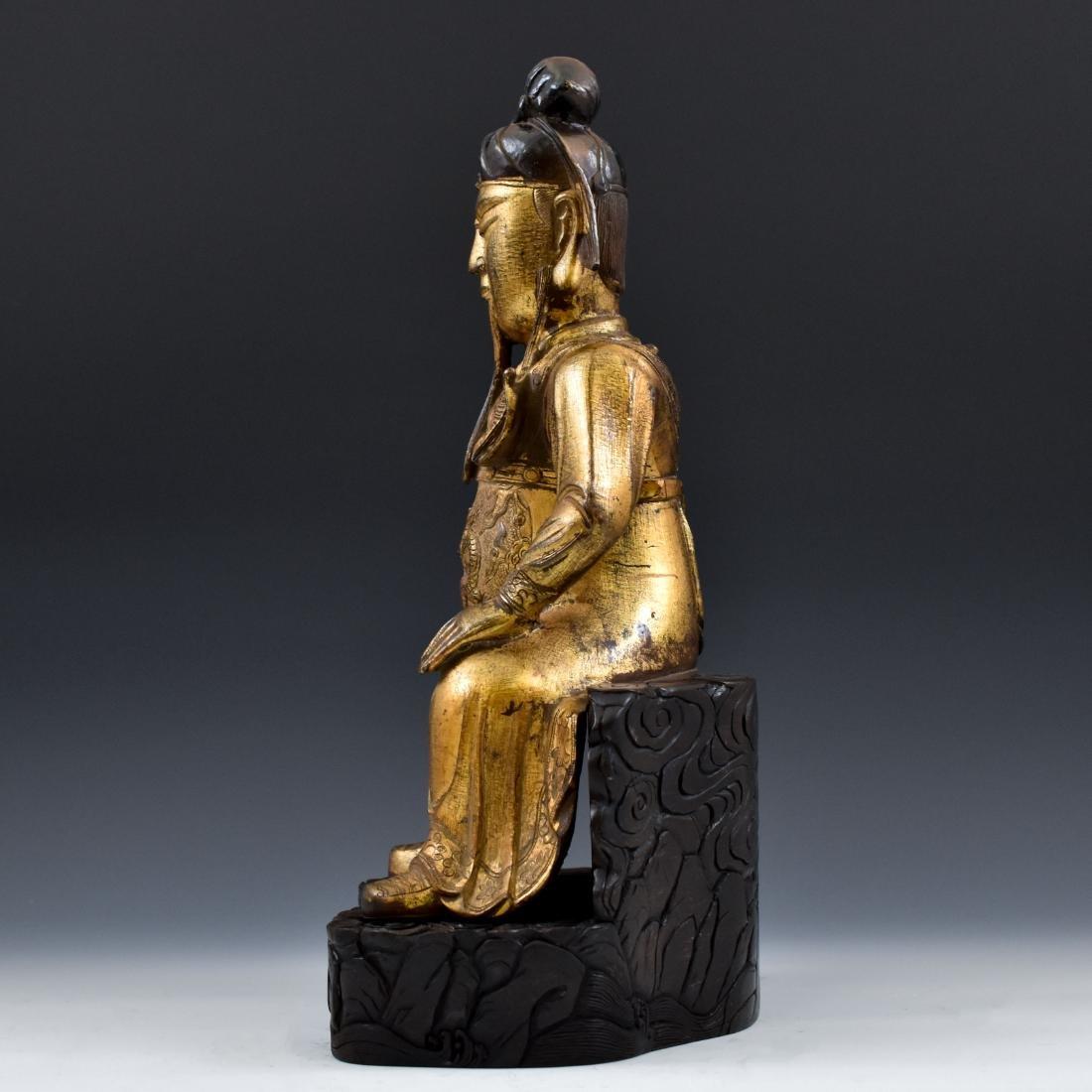 17TH C MASSIVE MING GILT BRONZE BUDDHA OF GUANGONG - 4