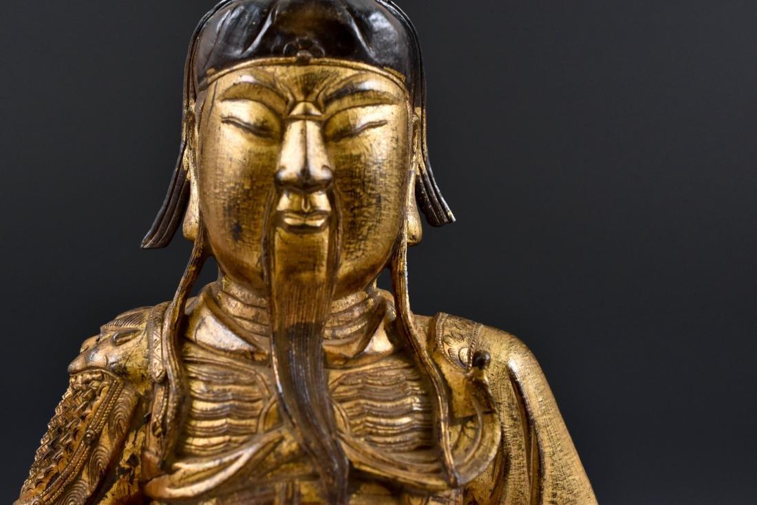 17TH C MASSIVE MING GILT BRONZE BUDDHA OF GUANGONG - 5