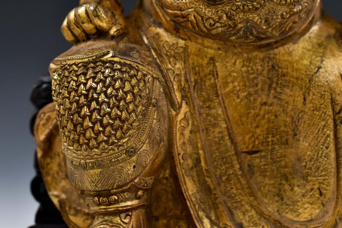 17TH C MASSIVE MING GILT BRONZE BUDDHA OF GUANGONG - 6