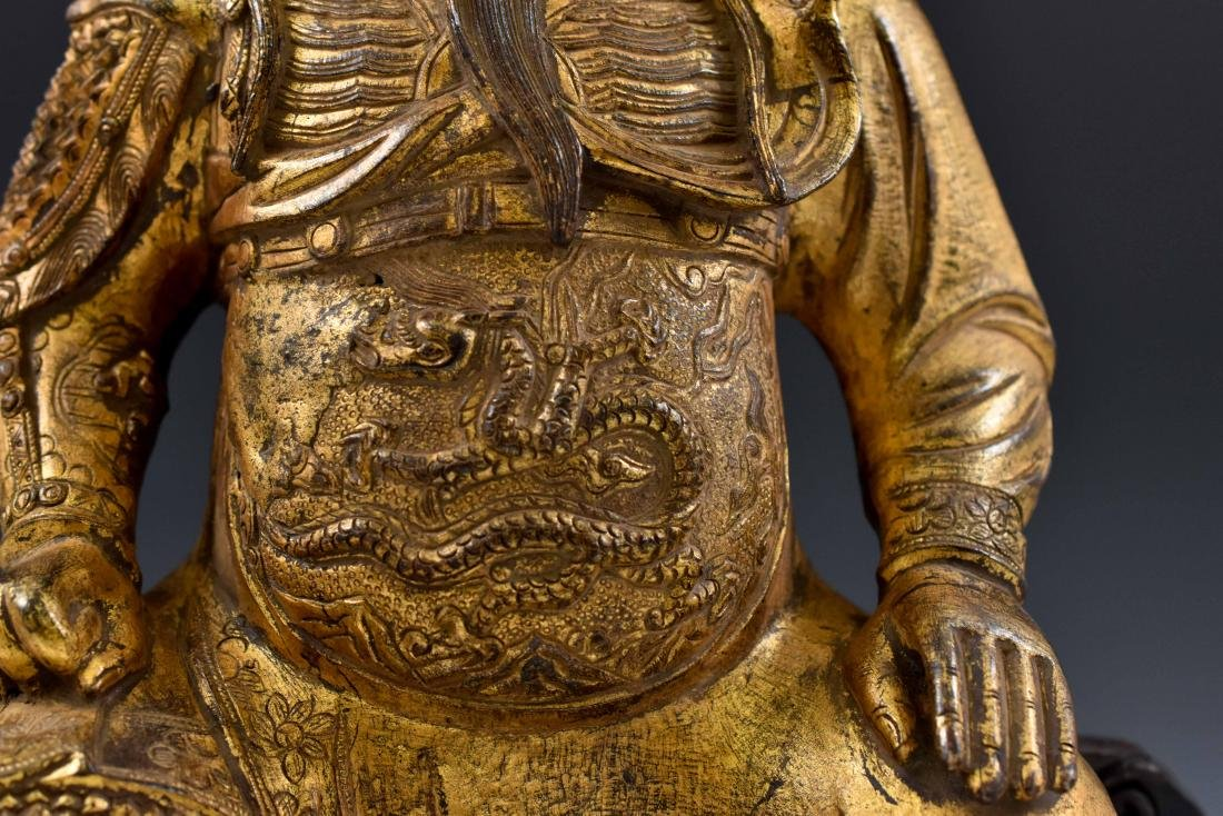 17TH C MASSIVE MING GILT BRONZE BUDDHA OF GUANGONG - 7
