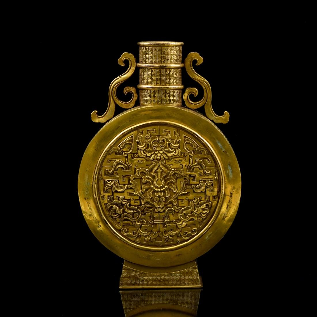 18TH C CHINESE GILT BRONZE MOON FLASK
