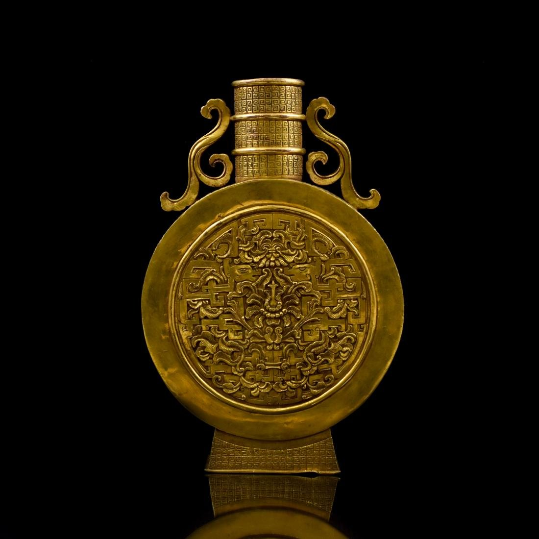 18TH C CHINESE GILT BRONZE MOON FLASK - 5