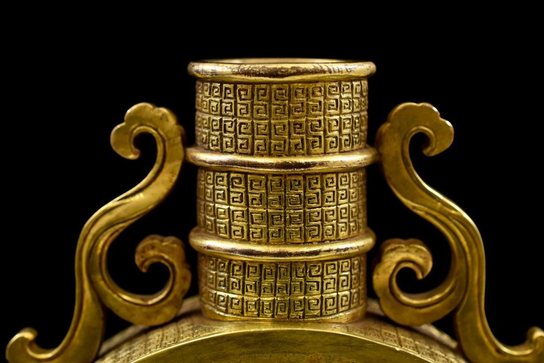 18TH C CHINESE GILT BRONZE MOON FLASK - 6