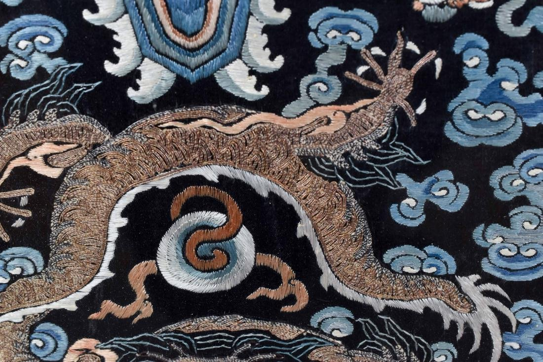18TH C EMBROIDERY SILK IMPERIAL DRAGON RANK BADGE - 6