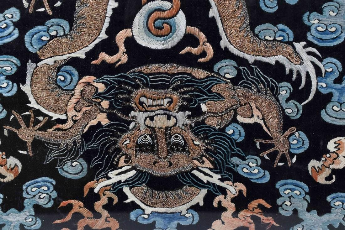 18TH C EMBROIDERY SILK IMPERIAL DRAGON RANK BADGE - 7